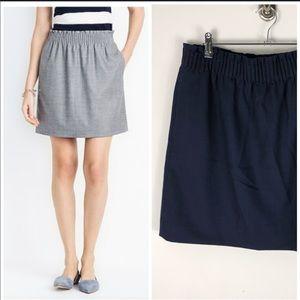 J. Crew Navy Blue Wool Sidewalk Skirt Elastic 583